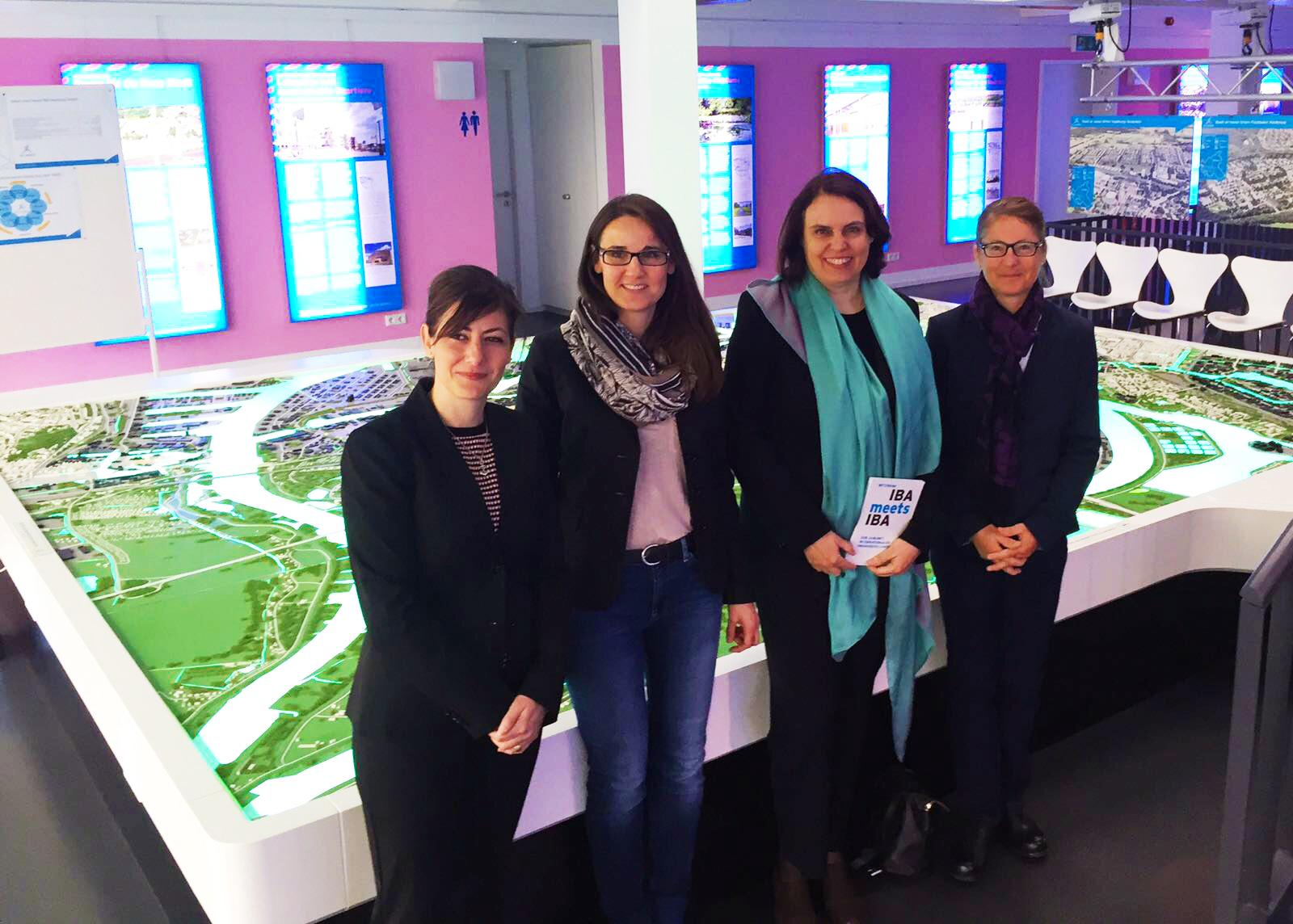 IBA Basel Managing Director Monica Linder-Guarnaccia, Karen Pein, Managing Director IBA Hamburg, President of Cantonal Government Elisabeth Ackermann and Sabine Horvath, Head of Basel Location Marketing, at the IBA-Dock 2017 in Hamburg.
